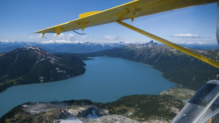air flight over Garibaldi Lake, Whistler, British Columbia, aviation in Canada, aerospace in Canada